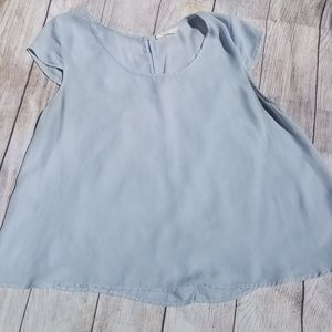 Anthropologie Elodie Blue Career Blouse Shell Top